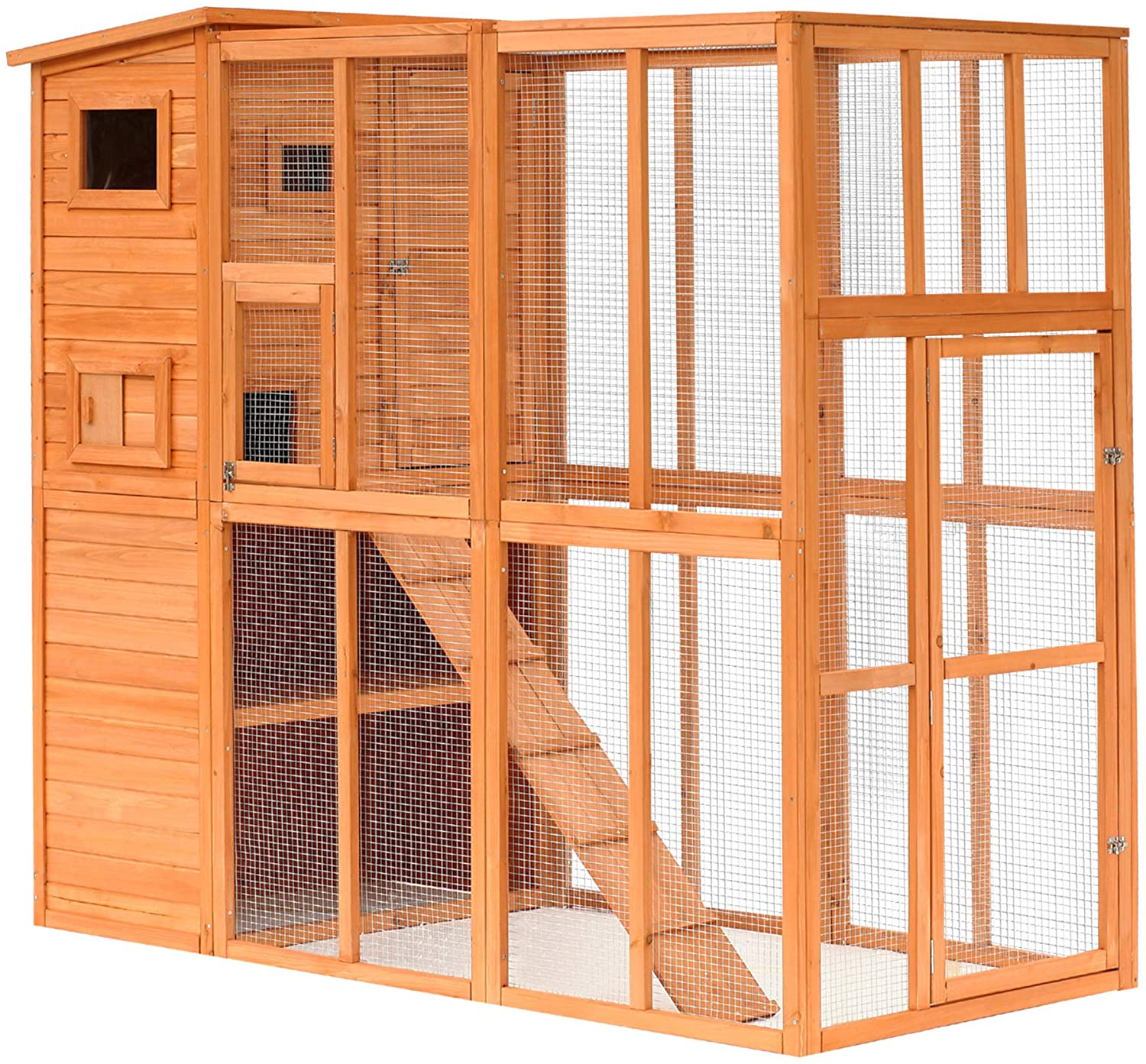 PawHut Large Wooden Outdoor Cat House with Large Run